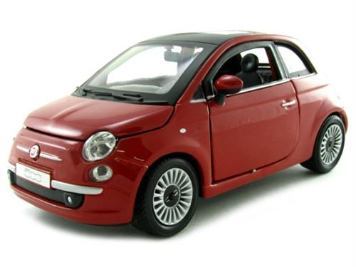 Fiat New 500 (2007), rød metallic - 1:24 - Bburago