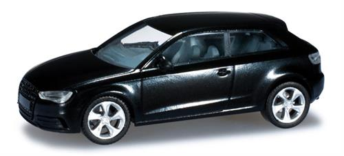 Audi A3, phantom black pearl effect metallic - 1:87 / H0 - Herpa