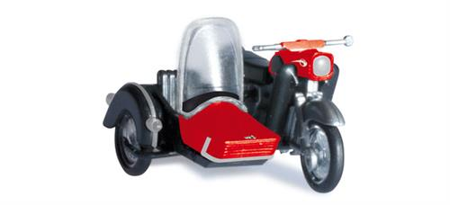 MZ 25 with sidecar, black/red - 1:87 / H0 - Herpa