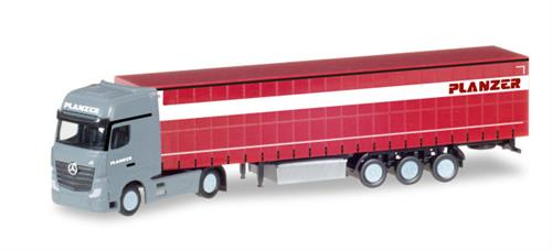 "Mercedes-Benz Actros Gigaspace container semitrailer ""Planzer"" (CH) - 1:160 / N - Herpa"