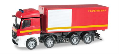 "Mercedes-Benz Actros Streamspace 4-axle roll-off container truck ""Feuerwehr"" - 1:87 / H0 - Herpa"