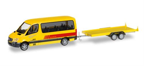 "Mercedes-Benz Sprinter Bus with car trailer ""ADAC Rückholdienst"" - 1:87 / H0 - Herpa"