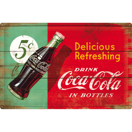 "Blikskilt 40x60 cm ""Coca-Cola - Delicious Refreshing, green"" - Nostalgic Art"