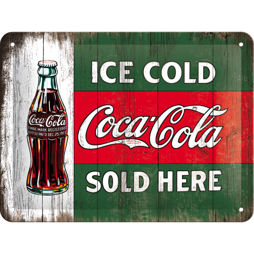 "Blikskilt 15x20 cm ""Coca-Cola - Ice Cold, Sold Here"" - Nostalgic Art"