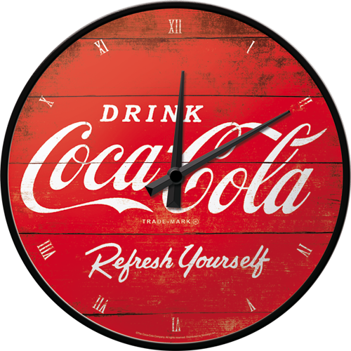 "Vægur 31 cm, ""Coca-Cola - Logo Red, Refresh Yourself"" - Nostalgic Art"