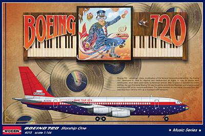 Boeing 720B Starship One (Elton John USA tour, 1974) - 1:144 - Roden