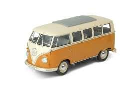 1962 Volkswagen classical bus, yellow/white - 1:24 - Welly