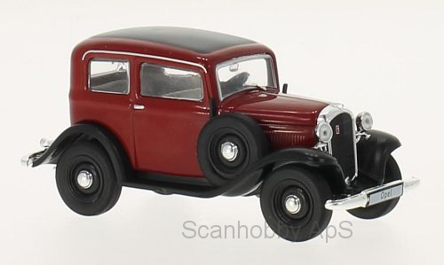 Opel P4 (1935), dark red/black - 1:43 - WhiteBox