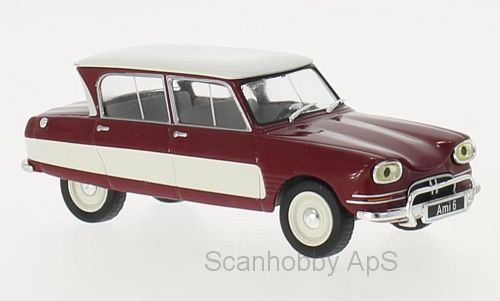 Citroen AMI 6 (1961), dark red/white - 1:43 - WhiteBox