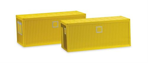 2x Building site container, yellow - 1:87 / H0 - Herpa