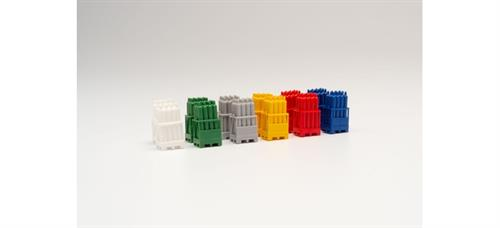 Gas cylinders with pallets, 2 x red / 2 x yellow / 2 x Grey / 2 x blue/ 2 x White / 2 x green - 1:87 / H0 - Herpa