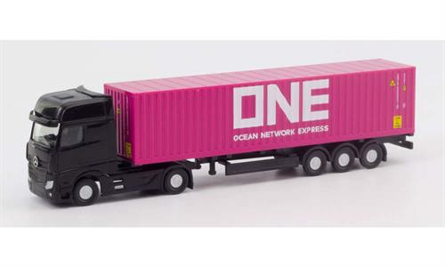 "Mercedes-Benz Actros container semitrailer ""ONE"" - 1:160 / N - Herpa"