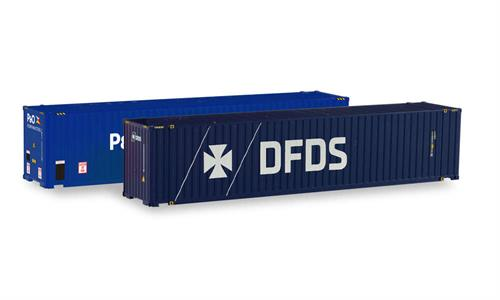 "2x 45' High Cube Container ""P&O Ferrymaster / DFDS"" - 1:87 / H0 - Herpa"