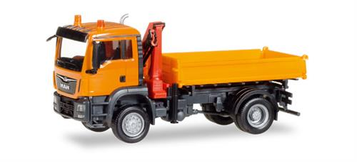 MAN TGS M Euro 6c 3-way discharge skip with crane - 1:87 / H0 - Herpa