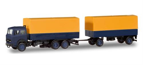 Iveco Magirus canvas cover Trailer yellow/blue - 1:87 / H0 - Herpa