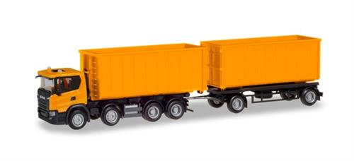 Scania CG 17 8×4 roll-off container trailer, communal orange - 1:87 / H0 - Herpa