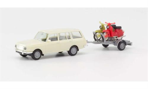 Wartburg 353 (1966) Tourist with trailer and 2 Simson - 1:87 / H0 - Herpa