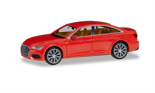 Audi A6 Limousine, flame red, with two-color rims - 1:87 / H0 - Herpa