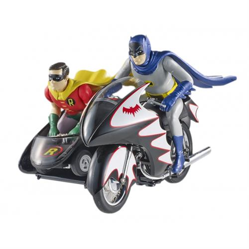 Batcycle (TV 1966) m/Batman og Robin figurer - 1:12 - Mattel Elite