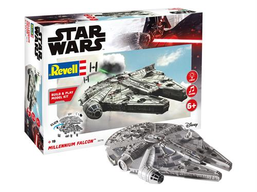 "STAR WARS Millennium Falcon m/lys & lyd - 1:28 - ""Build  & Play model kit"" - Revell"