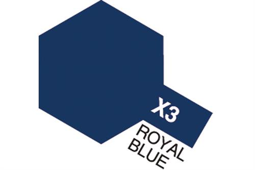 X-3 Royal Blue, Acrylic Mini 10 ml (penselmaling, blank) - Tamiya