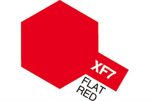 XF-7 Flat Red, Acrylic Mini 10 ml (penselmaling, mat) - Tamiya